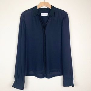 A.L.C Navy Gillian Silk Blouse Button Down